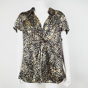 LANE BRYANT Brown Animal Print Top 18/20